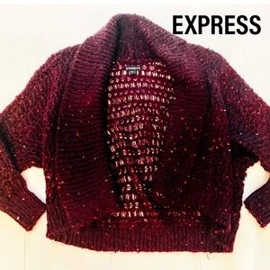 Express knit shrug cardigan with small sequins.